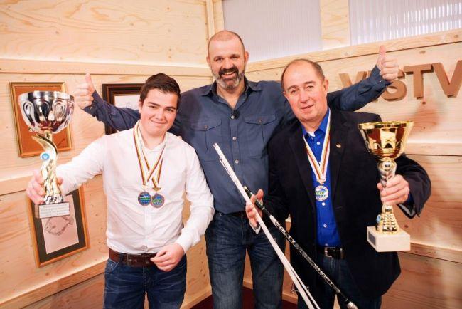 Wereldkampioen Joeri Minderhout (l) en bondscoach Henri Karremans