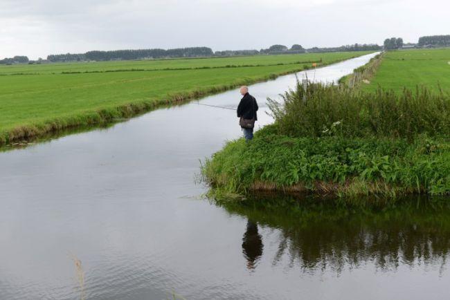 Typisch poldervissen op de kruising van sloten