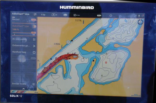 De Humminbird Solix 12; zo ziet het er uit als je een waterkaart maakt in nog onbekend water
