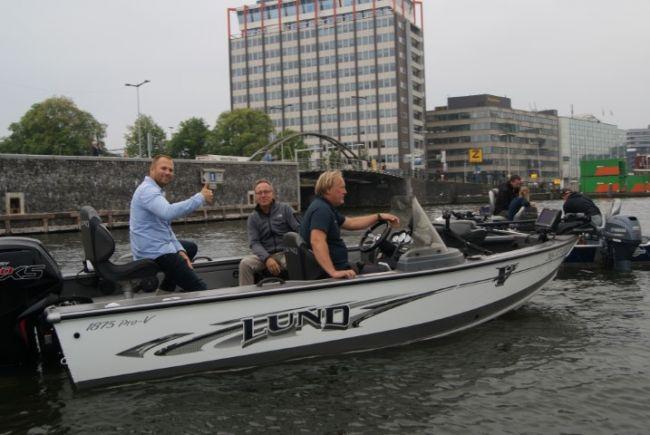 De mooie Lund visboot van Daan Verbruggen, de bekende visgids die er al vanaf het begin bij betrokken is.